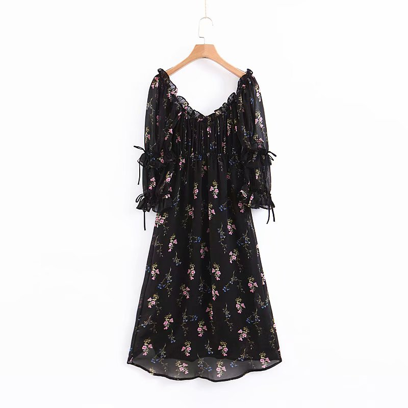 Chic Black Floral Print Puff Sleeve Two Forms of Wear Dress Fashion Women Lace Up Ruffles Asymmetrical Dresses Vestidos