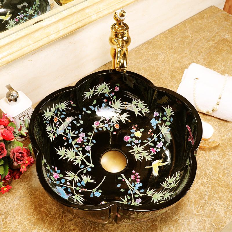 Europe style chinese wash basin Jingdezhen Art Counter Top ceramic basin sink vessel wash basin bathroom sinks (6)
