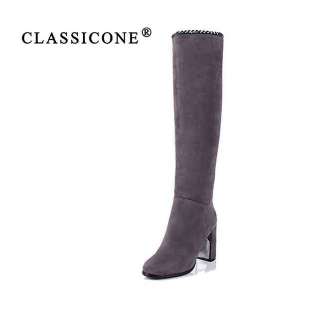 CLASSICONE2018 shoes woman winter wool snow over-the-knee boots genuine leather inside warm brand fashion high heels pumps gray