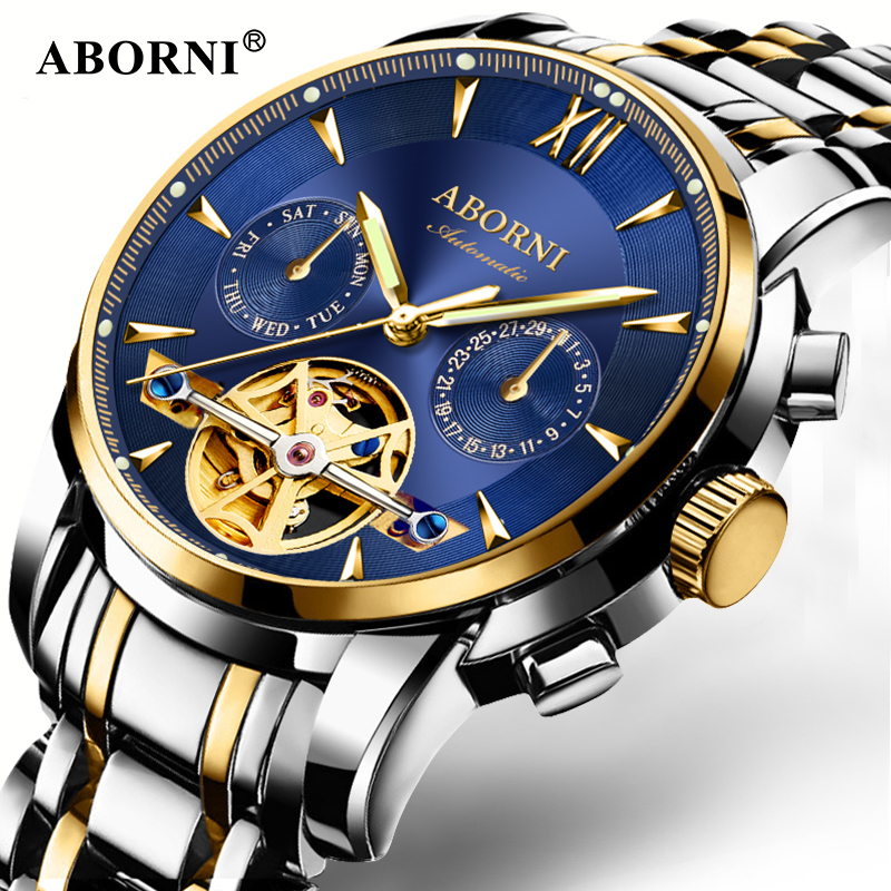 ABORNI Skeleton Tourbillon Multifunctional Mechanical Men Watch Automatic Luxury Brand Mens Business Watches Relogio Masculino tourbillon business mens watches top brand luxury shockproof waterproof skeleton watch men mechanical automatic wristwatch