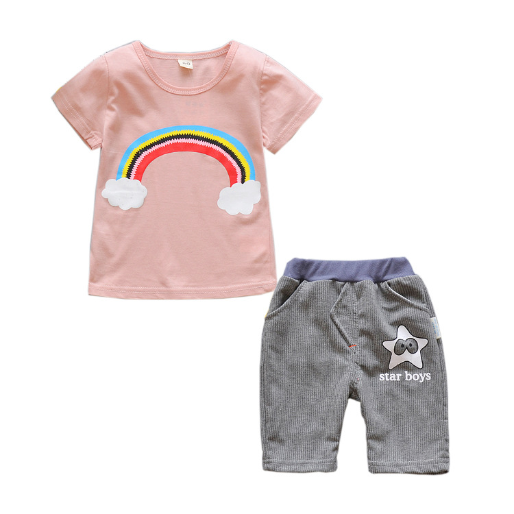 0-3 years 2018 summer sports sets children baby boy clothing girls Short sleeve printed cotton suits Outfits Kids Casual Clothes