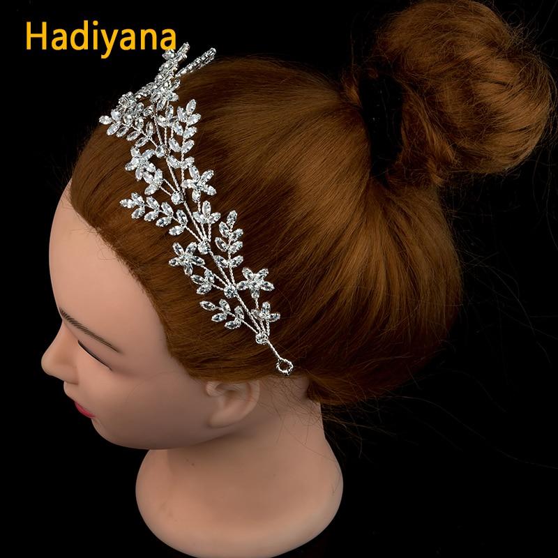 Hadiyana New Bridal Wedding Tisra And Crown Full Zircon Soft Copper Wire Split Sliver Headband For
