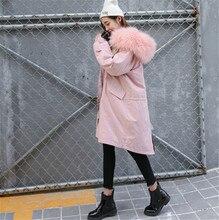 2016 новая зимняя одежда в длинный сюртук пальто с капюшоном BF патч большой меховой воротник талии тонкий хлопок Harajuku ветер