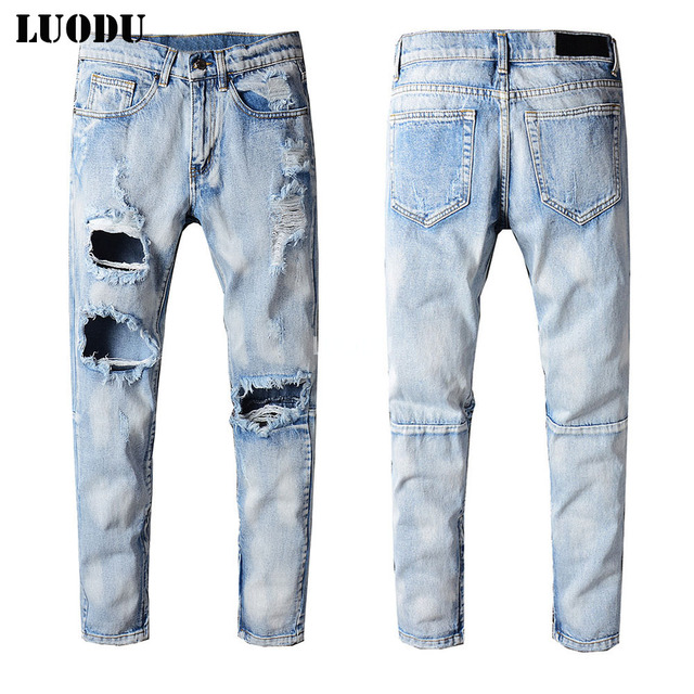 75a3f80ac5c New Italy Style #211# Mens Distressed Destroyed Ripped Holey Pants Washed  Blue Denim Skinny Jeans Slim Trousers Size 28-40. Price:
