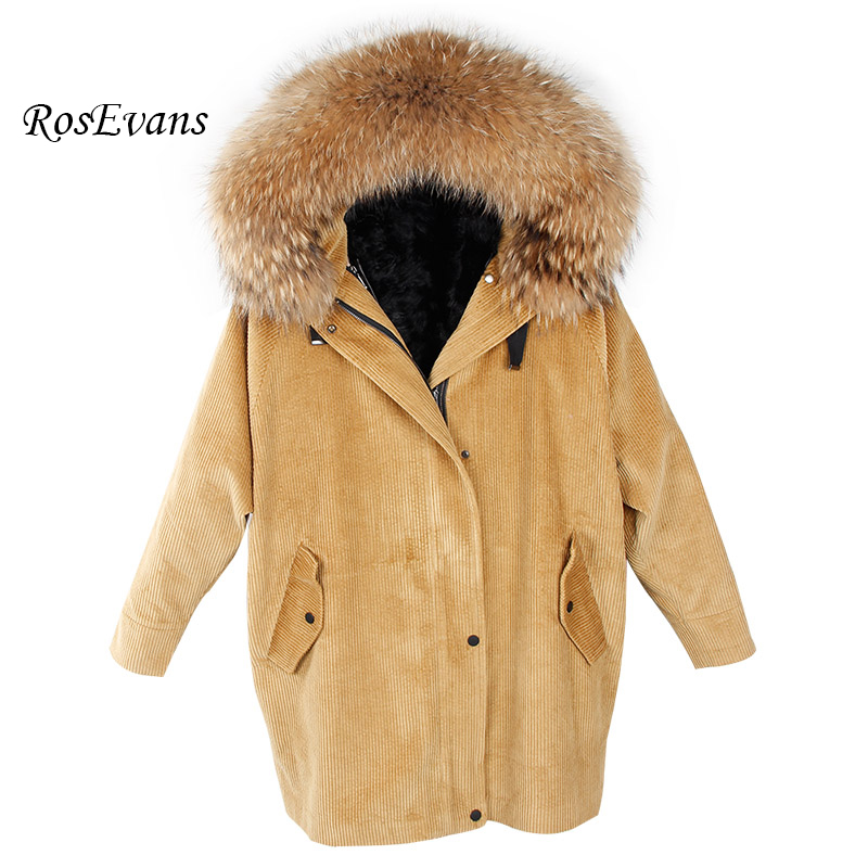 RosEvans 2017 New Style Coat Winter Jacket Women Corduroy Large Real Raccoon Fur Collar Warm Natural Lamb Fur Lining Coat Parkas 2017 winter new clothes to overcome the coat of women in the long reed rabbit hair fur fur coat fox raccoon fur collar