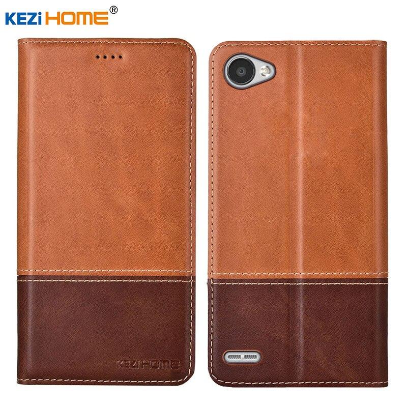 Case for LG Q6 Q6 Plus Q6 Alpha KEZiHOME Double Colors Genuine Leather Flip wallet Cover for LG Q6 Q6a Phone cases
