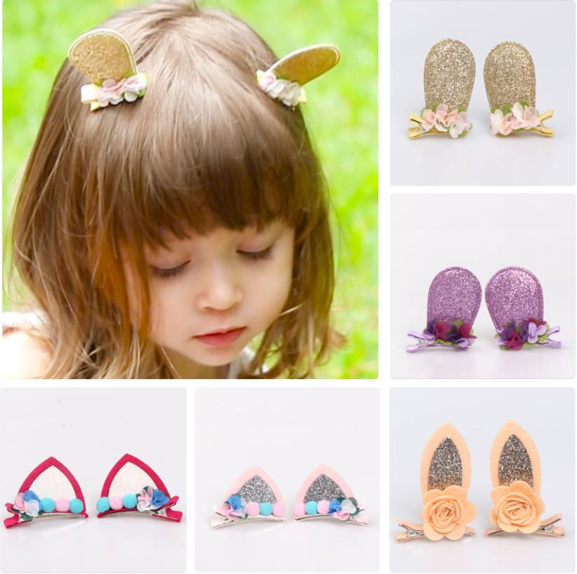 2Pcs Solid cat ears hairpins Sequins ears hair clips cute rabbit ears shape barrettes girls Bow hair accessories headdress J52 in Hair Accessories from Mother Kids