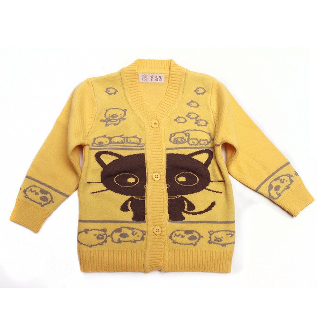 Cartoon Infant Sweater Knit Cotton Coat Cat Cotton Cardigan Top New Boys Clothes Warm Long Sleeve Outfits Winter Girls Sweaters