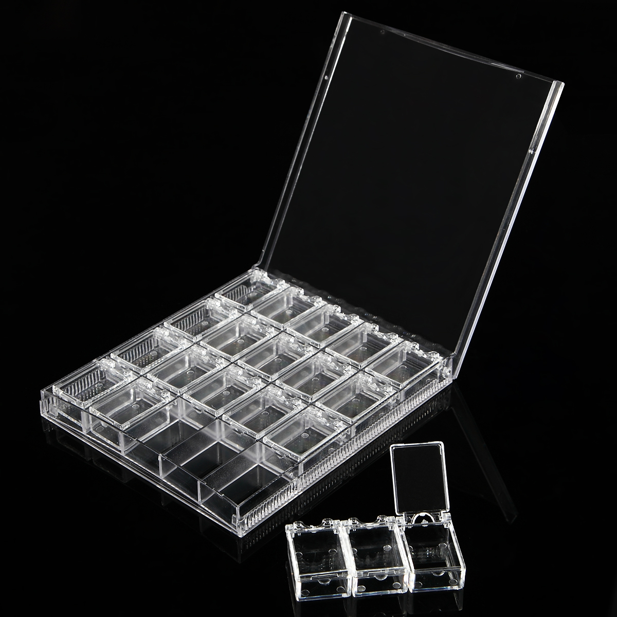 20 Grids Clear Acrylic Empty Storage Box Nail Art Rhinestone Jewelry Beads Display Removable Case Organizer Holder clear acrylic a3a4a5a6 sign display paper card label advertising holders horizontal t stands by magnet sucked on desktop 2pcs