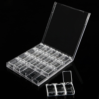 20 Grids Clear Acrylic Empty Storage Box Rhinestone Beads Jewelry Decoration Nail Art Display Removable Container