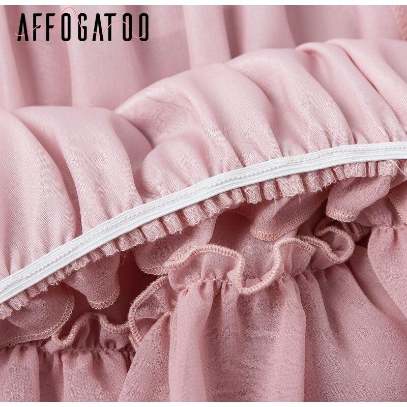 Affogatoo Elegant ruffle off shoulder strap summer pink dress women Casual chiffon pleated blue dress Loose holiday short dress 10