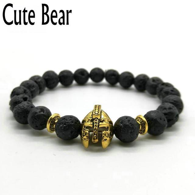 Cute Bear Brand Roman Knight Spartan Warrior Gladiator Helmet Bracelet Men Black