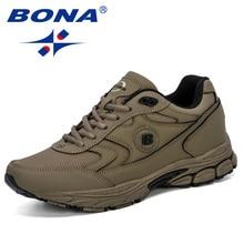 BONA 2019 Yeni Stil Erkekler koşu ayakkabıları Nefes Zapatillas Hombre Deportiva Yüksek Kaliteli erkek ayakkabı Eğitmen Sneakers Moda