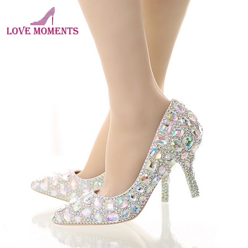 Crystal Wedding High Heel Shoes Glitter AB Color Performance Party Shoes Pointed Toe Party Prom Pumps Bling Bling Women Shoes new arrival multi ab color wedding shoes women s pumps luxury crystal shoes pointed toe square heel sheepskin real leather shoes