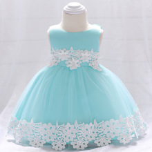 Baby Girls Dress Princess Lace Pearl Bow dress Party Wedding birthday Baby dress Girl infant clothes Vestido bebes 0-3y