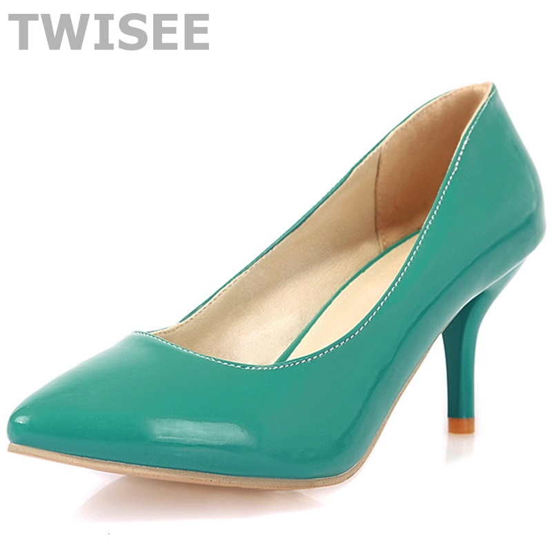 Women Nude Color Patent Leather Pumps 2016 spring Fashion Pointed Toe High Thin Heels Stilettos Slip On Party Shoes Plus Size 43 spring autumn women pumps women s shoes genuine leather high heel thin heels pointed toe fashion party slip on shallow solid