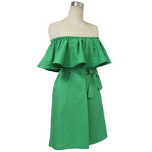 Women Off Shoulder Dress Strapless Beach Dress Ruffle Slash Neck Femininas Loose Mini Dress With Belt Vestidos Maternity Clothes