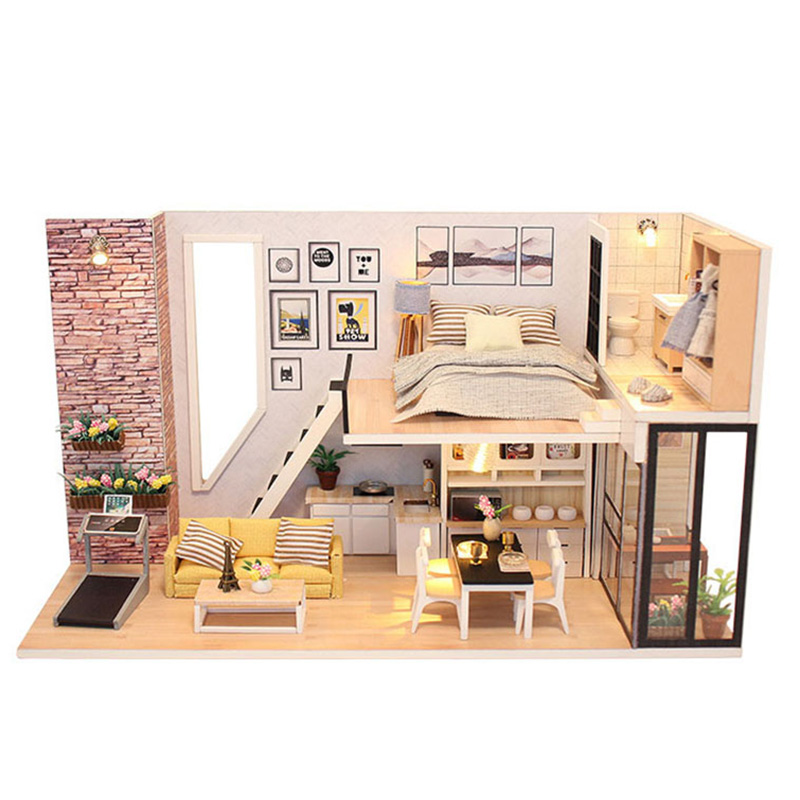 DIY Doll House Miniature Toys Handmade Wooden Dollhouse with Furnitures Assemble Building Kits Toy for Children