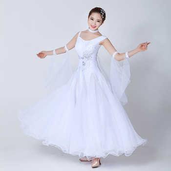 Standard Ballroom Dance Dress Women 2019 New Waltz Dancing Skirt Adult Cheap White Ballroom Competition Dance Dresses - DISCOUNT ITEM  22% OFF All Category