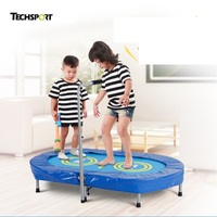 TECHSPORT Parent Child Fitness Trampoline Twins Trampoline with Adjustable Handrail