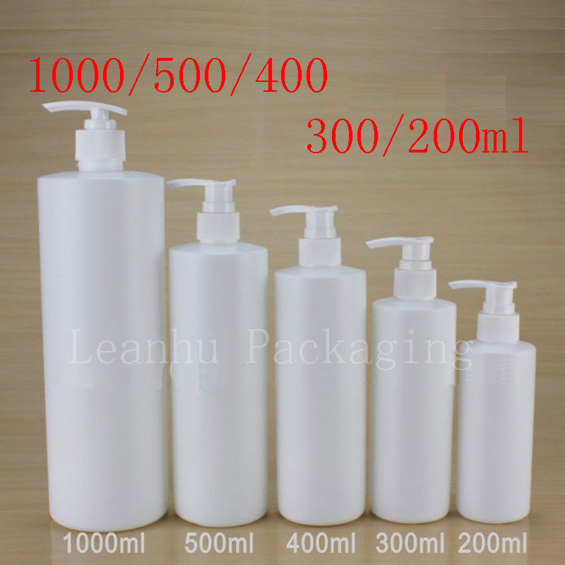Empty White Cylinder Shape Shampoo Plastic Bottles Lotion Pump PET Cosmetic Container Lotion Plastic Bottle Several Size Choose