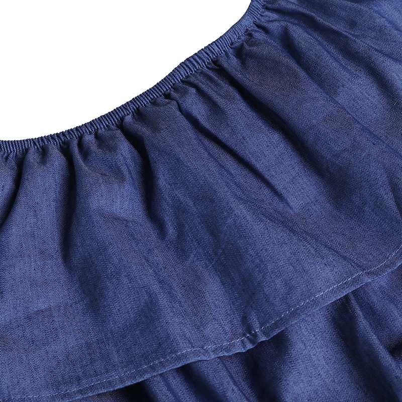 Jumpsuits Vonda Women Rompers Jumpsuit 2019 Summer Casual Slash Neck Off Shoulder Ruffles Denim Playsuits Overalls Plus Size Wide Leg Pant High Quality Materials