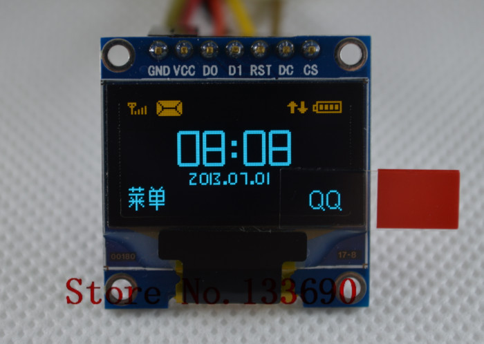 0.96 inch 128X64 OLED display module yellow and blue on black 3 wire SPI 4 wire SPI IIC communicate oled display module display module128x64 oled - AliExpress