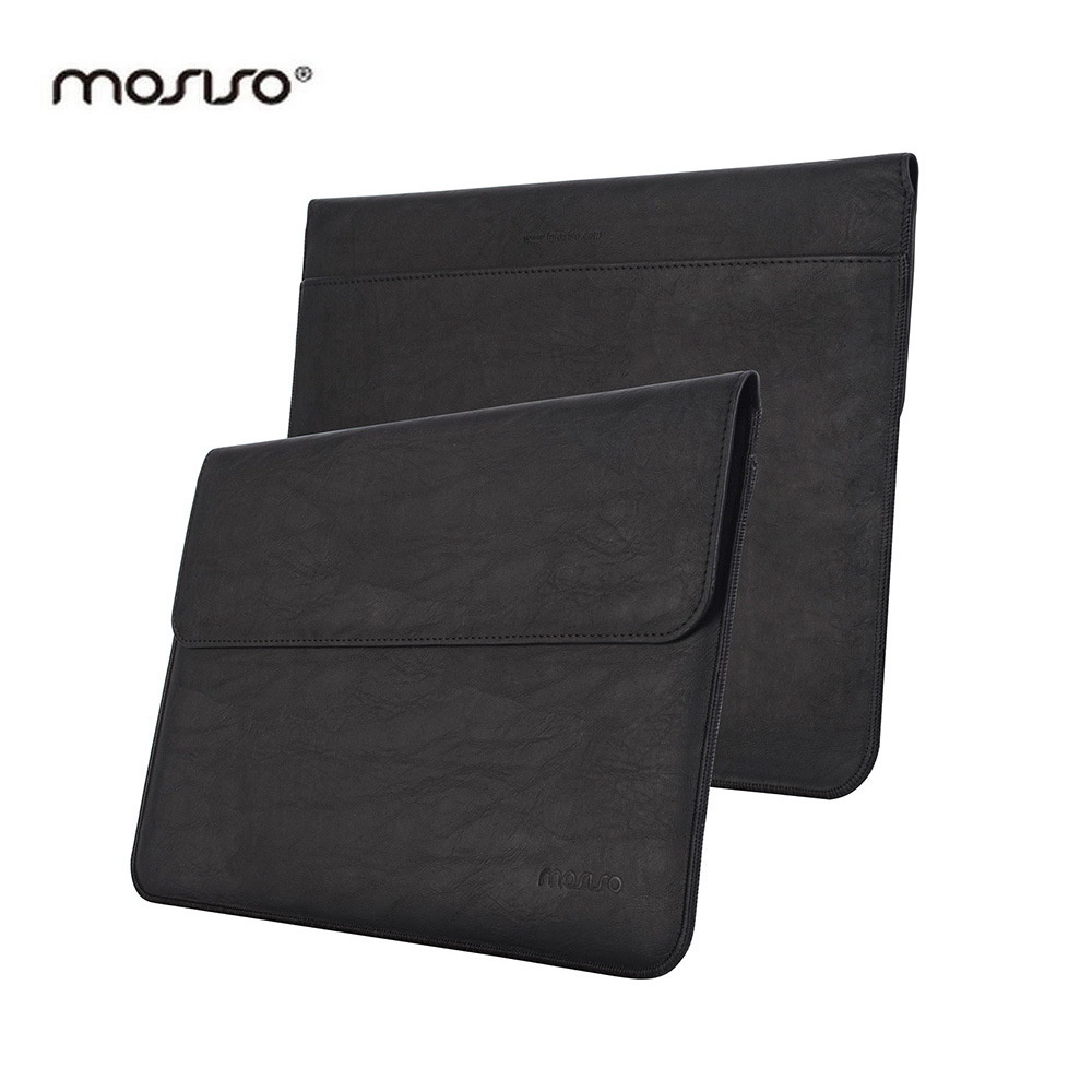 MOSISO Surface Pro 3 Case,Luxury PU Cover Case For Microsoft Surface Pro 4 Pro 3 Laptop Sleeve Case Bag Book Cover,Black/Brown