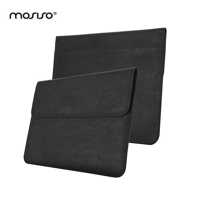 MOSISO Surface Pro 3 Case,Luxury PU Cover Case for Microsoft Surface Pro 4 Pro 3,Laptop Sleeve Case Bag Book Cover,Black/Brown