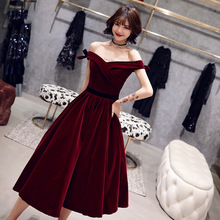 Plus Size Cocktail Dresses Elegant Boat Neck Bow Strapless Party Formal Dress Wine Red Lace Up A-line Fashion Prom Gowns E363