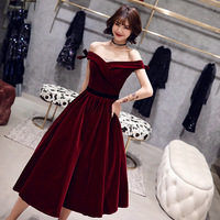 Plus Size Cocktail Dresses Elegant Boat Neck Bow Strapless Party Formal Dress Wine Red Lace Up A line Fashion Prom Gowns E363