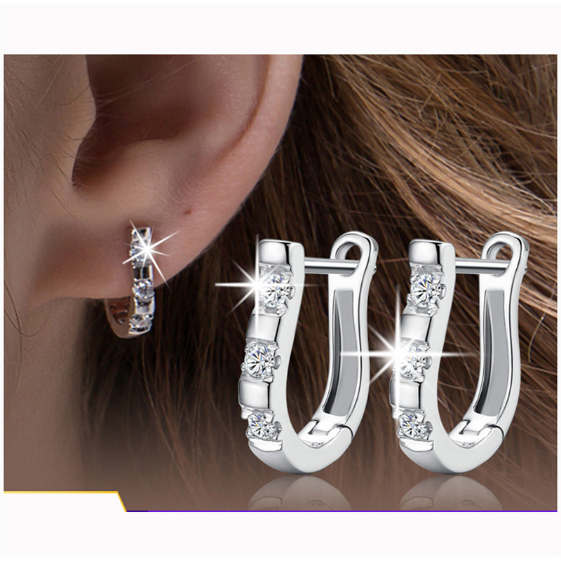 Silver Plated Australia Shining Cz Zircon Crystal Earrings Ear Studs Fashion Jewelry Whole Xh402 In Stud From Accessories On