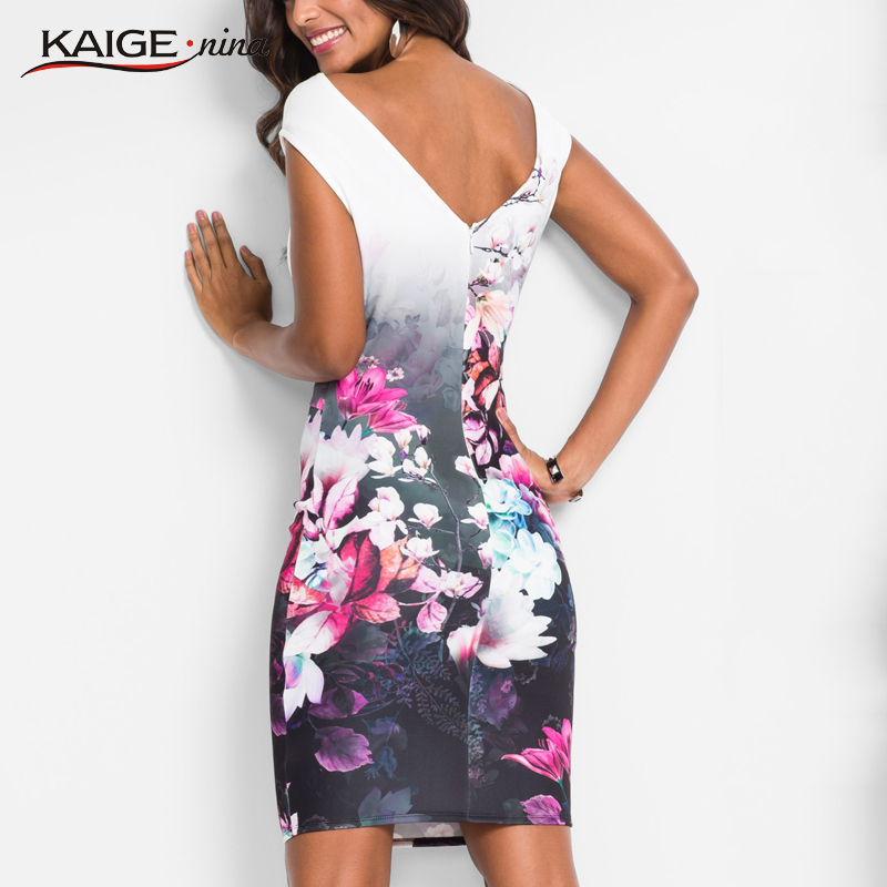 KaigeNina New Fashion Elegant Womens Chinese Style Printing Cloth Slash Neck Mid-Calf Sleeveless knitting Cotton Dress 18012A