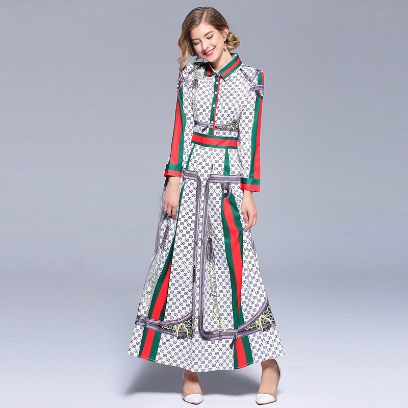 Runway Dresses 2018 Early Autumn Bohemian Boho Style Women Chic Dress Floral Print Long Sleeve Bow Tie Neck Slim Party Dress