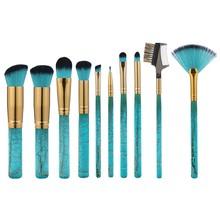 10 Pcs Navy Blue Dry Crack Road Wooden Handle Beauty Makeup