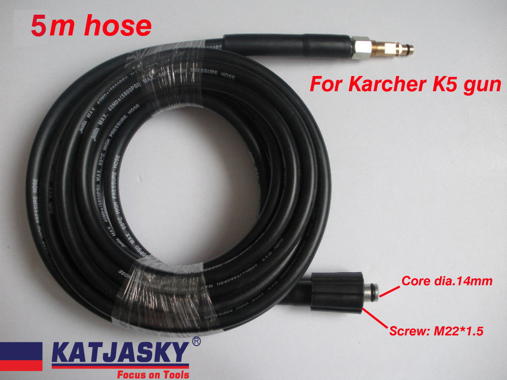 5M Car washer hose fit Karcher K5 connector 400Bar 5800PSI, M22*1.5 *14mm ,high pressure washer hose 7 5m car washer hose with gun 40mpa 5800psi high pressure washer hose