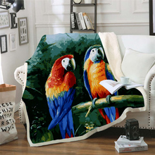 Plstar Cosmos colorful Parrot brid Blanket 3D print Sherpa on Bed Kids Girl Flower Home Textiles Dreamlike style-10