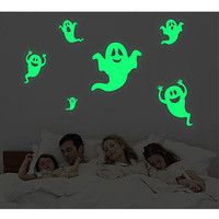 ZN Halloween Decor Creative PVC Luminous Wall Sticker Fluorescent Decorative Night Glow Decal For Party Ghost