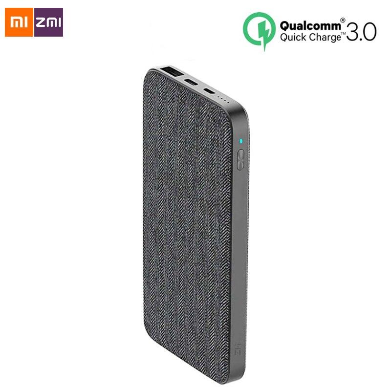 Nouveau Xiaomi ZMI 10000mAh batterie externe mode tissu gris QC3.0 PD type-c PD deux voies Charge rapide 18W batterie externe pour iPhone