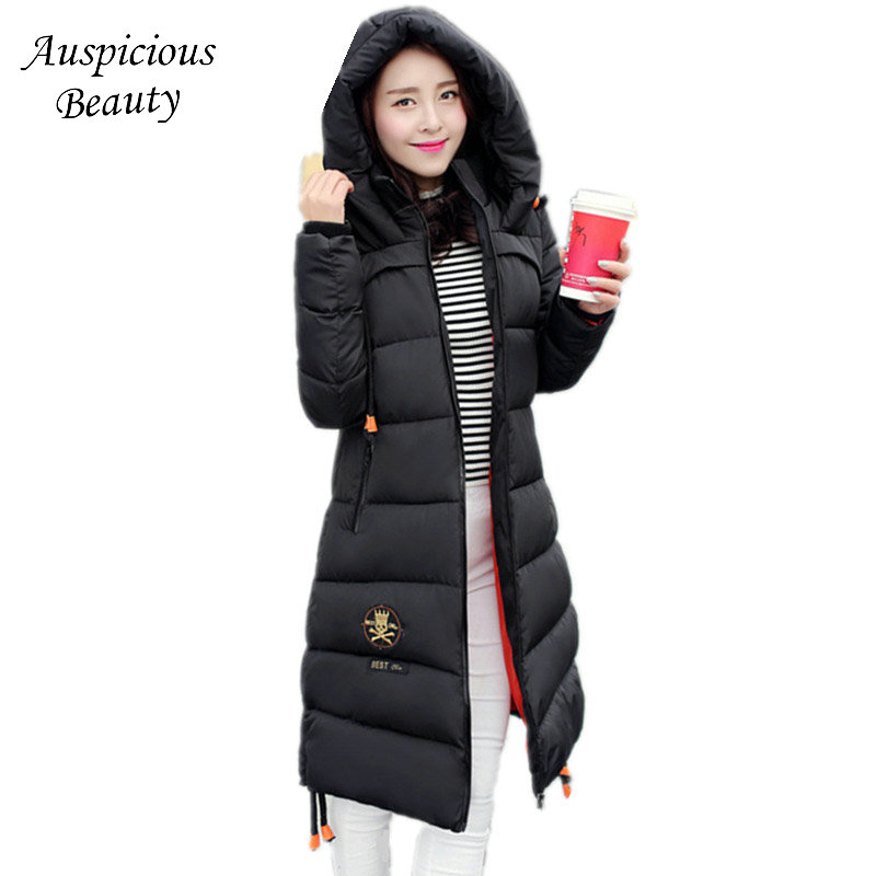 Women Winter Jacket and Coat Long Zipper Cotton-padded Parkas for Female Hooded Warm Coat and Jacket Outerwear Overcoat CXM184 2017 new winter coat for women slim black solid hooded long warm cotton parkas female thicker zipper red jacket padded
