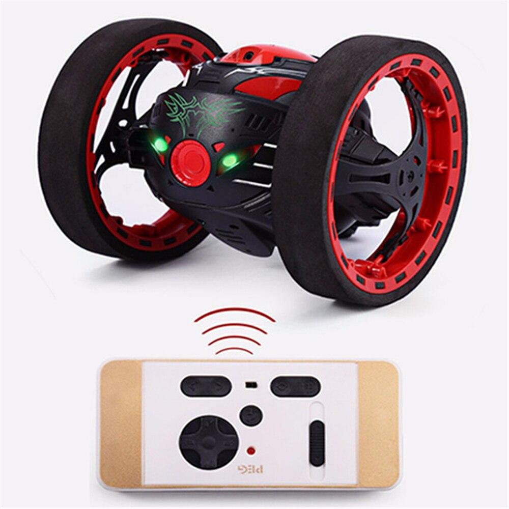 Mini coche PEG SJ88 2,4 GHz rebote RC coche flexibles con la rotación de la rueda de luz LED Control remoto coche de juguete Robot para regalos RC coche de juguete
