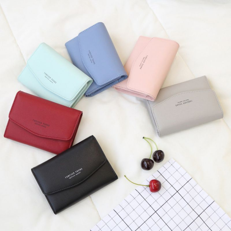 Women 2019 New Fashion Casual Coin Purses Ladies Female Money PU Clutch Short Paragraph Three Fold Wallet Buckle Clutch Bag