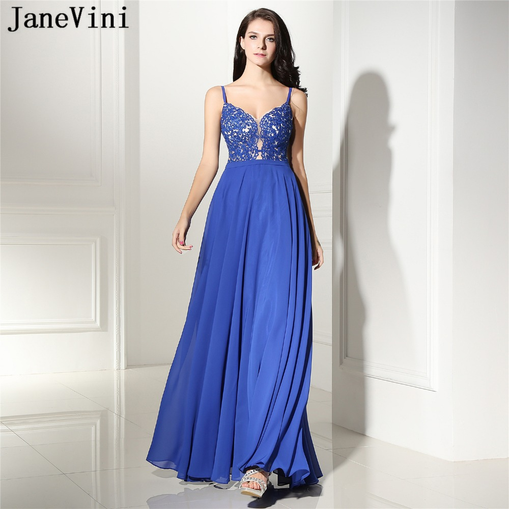 JaneVini Chiffon A Line Long   Bridesmaid     Dresses   with Lace Appliques Spaghetti Straps Floor Length Wedding Party   Dress   Plus Size