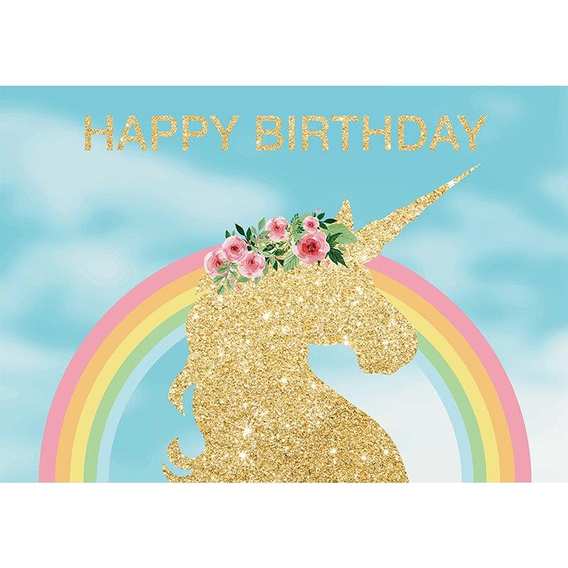 Allenjoy foto de fondo unicornio dorado arco iris fiesta de - Cámara y foto - foto 2