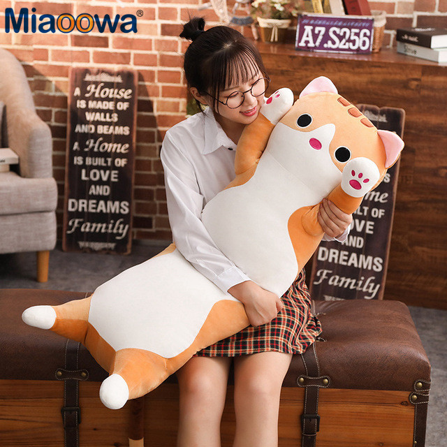 1pc 90cm Down cotton long Cat Pillow Plush toy soft cushion stuffed animal doll sleep pillow Kawaii Lovely gifts for Children цена