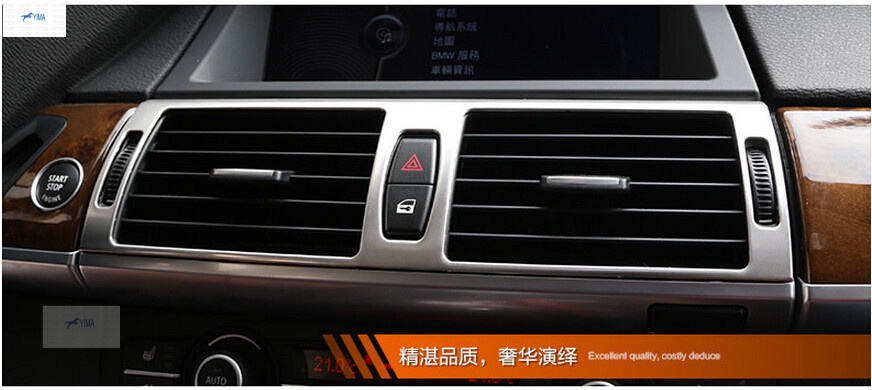 Stainless Steel Central Air Outlet Vent Cover Interior Trim For BMW X5 e70 2011-2013 / X6 e71 2012-2014 / 3 color for choice console board dash side air condition ac vent outlet cover trim for bmw x5 e70 2009 2010 2011 2012 2013
