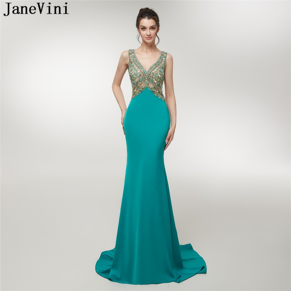 JaneVini Luxurious Heavy Beaded Crystal Tulle Bridesmaid Dresses Deep V Neck Backless Sweep Train Arabic Mermaid Sexy Prom Gowns