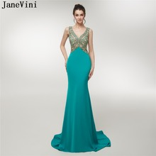 JaneVini Luxurious Heavy Beaded Crystal Bridesmaid Dresses