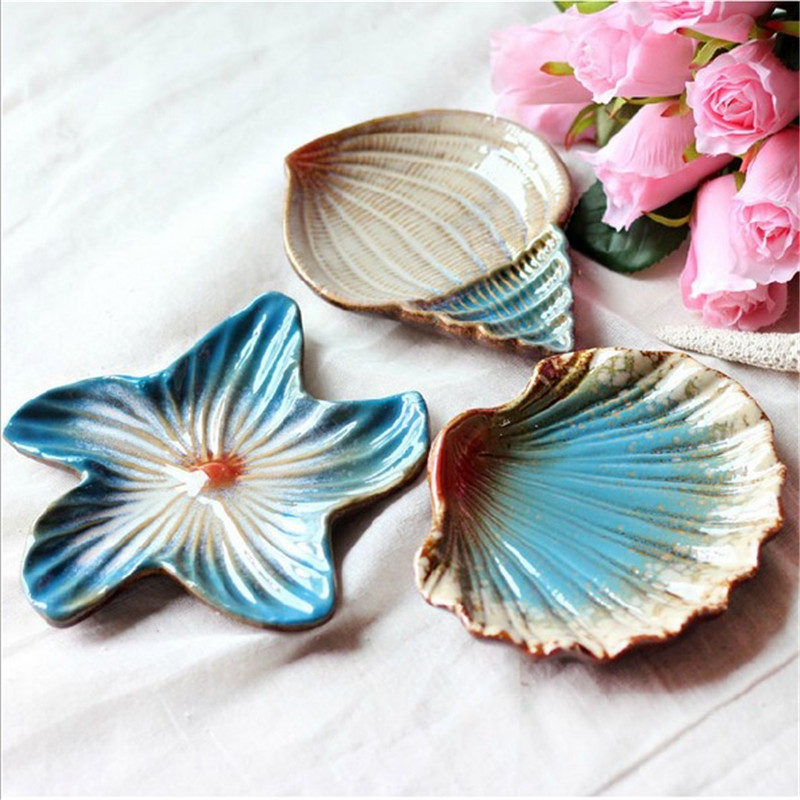 Pratos De Jantar And Plates Sets Mediterranean Seashells Starfish Conch Three piece of 1set Compote Dish
