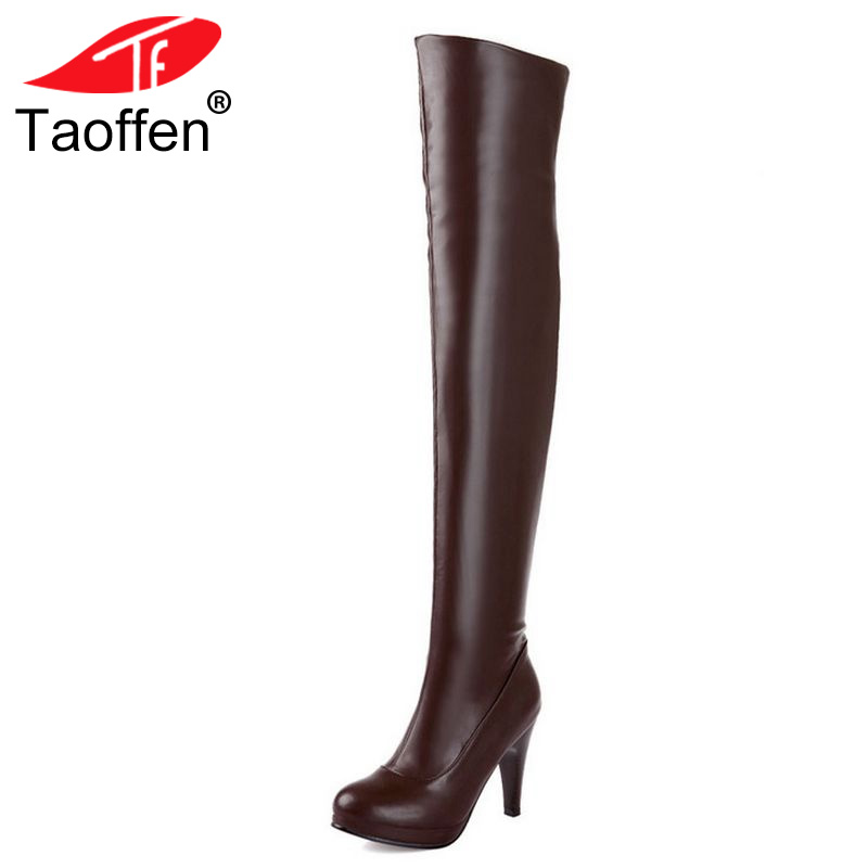TAOFFEN size 32-48 women high heel over knee boots ladies riding long snow boot warm winter botas heels footwear shoes P14733 coolcept size 30 47 women square high heel over knee boots snow long boot warm winter brand botas footwear heels shoes p20222